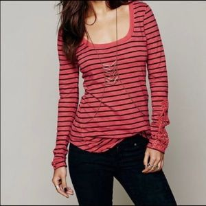 Women's Free People Striped Lace Detail Shirt